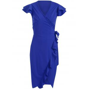 V-Neck Ruffle Bodycon Wrap Dress