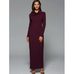 Maxi Slit Ribbed Long Sleeve Winter Dress - Wine Red - 2xl