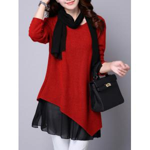 Long Sleeve Faux Twinset Asymmetric Blouse - Red - L