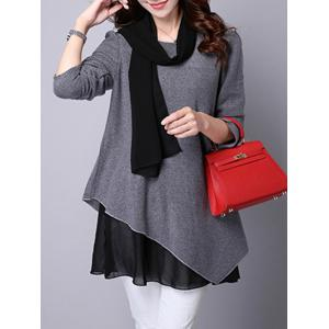 Long Sleeve Faux Twinset Asymmetric Blouse