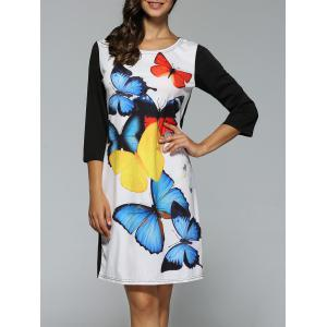 Casual Knee Length Dress with Butterfly Print