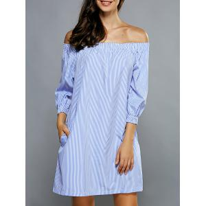 Off-The-Shoulder Striped Tunic Dress