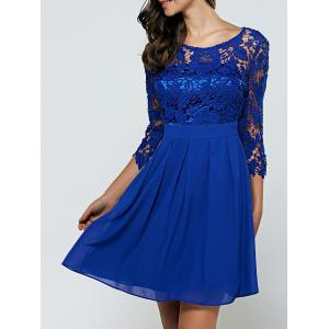 Laciness Cutwork Chiffon Cocktail Club Dress - Royal Blue - S