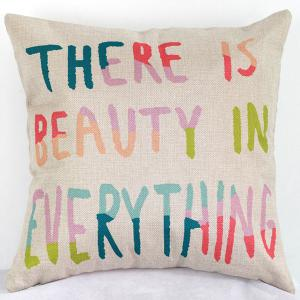 Beauty In Everything Letters Sofa Bed Pillow Case