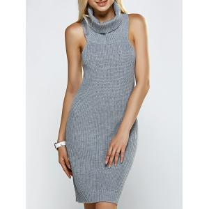 Turtleneck Backless Ribbed Sleeveless Sweater Dress - Gray - One Size