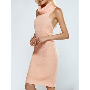 Turtleneck Backless Ribbed Sleeveless Sweater Dress - Pink - One Size