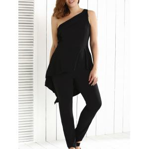 Plus Size One Shoulder Backless Jumpsuit - Black - 2xl