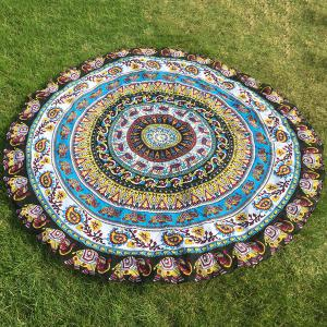 Ethnic Paisley and Elephant Print Chiffon Round Beach Throw - Yellow - One Size(fit Size Xs To M)