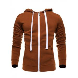 Zip Up Long Sleeves Plain Drawstring Brown Hoodie