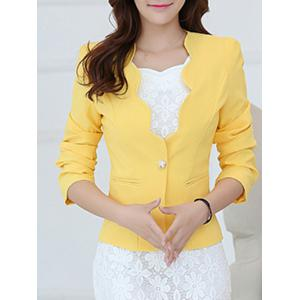 One Button Scalloped Blazer