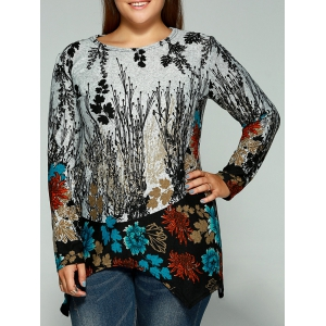 Plus Size Full Sleeve Print Kniwear - Water Blue - One Size