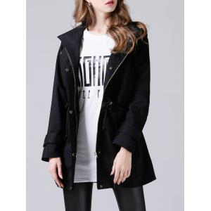 Hooded Drawstring Single-Breasted Trench Coat - Black - 2xl