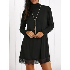 Turtleneck Lace Hem Long Sleeve Mini Dress - Black - S