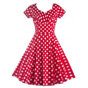 Sweetheart Collar Polka Dot Dress