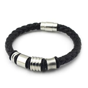 Vintage Geometric Braided Faux Leather Bracelet - Black