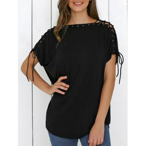 Lace-Up Batwing Sleeve T-Shirt