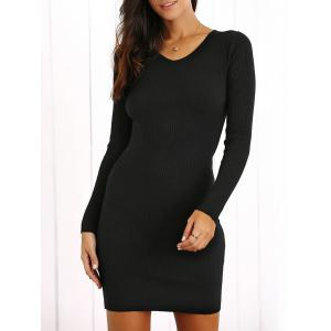 V Neck Bodycon Ribbed Long Sleeve Dress - Black - One Size