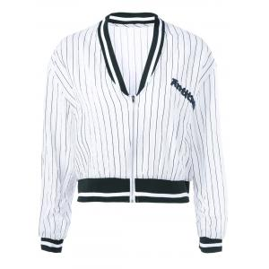 Striped Letter Long Sleeve Jacket - White And Black - One Size