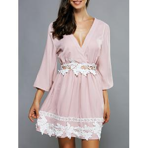 Plunging Neck Laciness Casual Cute Dress - Pink - M