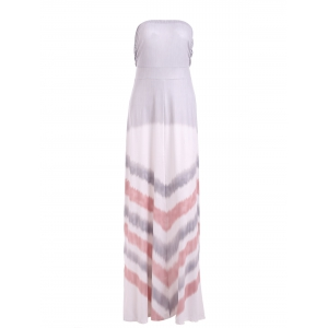 Sleeveless Tube Top Striped Maxi Dress - Light Gray - S