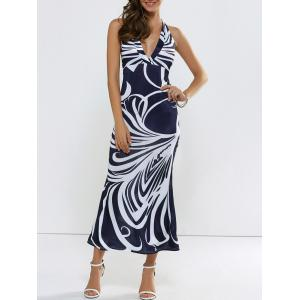 Printed Backless Halter Plung Maxi Dress