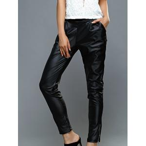 High-Waisted Faux Leather Zippered Pants