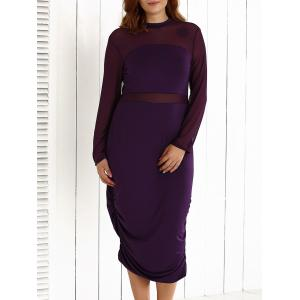 Plus Size Mesh-Insert Ruched Zipper Design Dress - Purple - 2xl