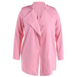 Stand Collar Waterfall Coat With Epaulet - Pink - 5xl