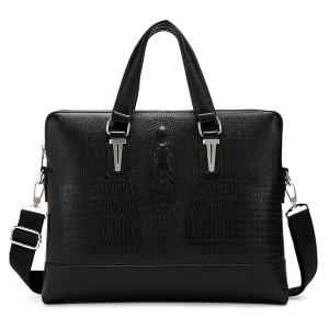 Metal Embossing Dark Colour Briefcase - Black