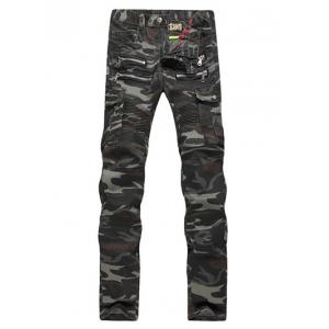 Zipper Embellished Ruched Design Camo Cargo Pants