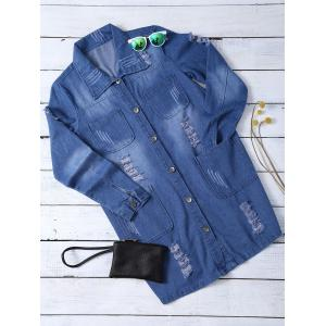 Ripped Four Pockets Denim Shirt