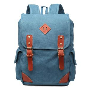 Double Buckle Canvas Colour Block Backpack