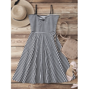 Retro Sweetheart Neck Stripe Backless Flare Dress