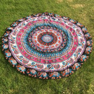 Ethnic Paisley and Elephant Print Chiffon Round Beach Throw - Rose Red - One Size