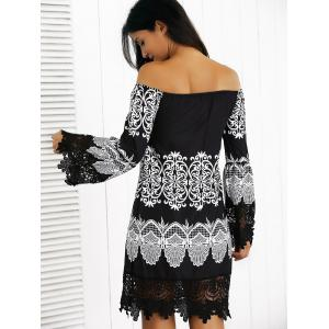 Off-The-Shoulder Laciness Paisley Casual Dress - BLACK XL