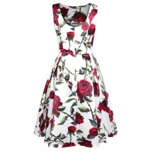 Sleeveless Rose Print Swing Dress -