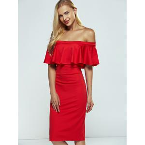 Off-The-Shoulder Overlay Flounce Bodycon Formal Dress -