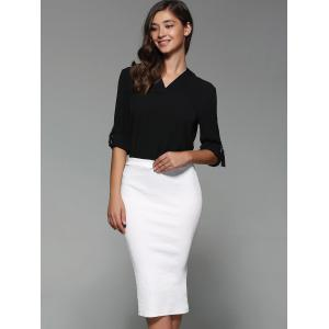 High Waist Sheathy Midi Skirt -