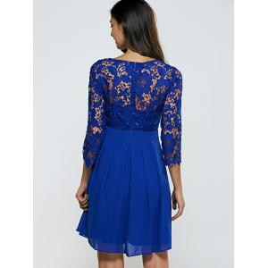Laciness Cutwork Chiffon Cocktail Club Dress - ROYAL BLUE S