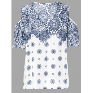 Floral Cold Shoulder T-Shirt - BLUE/WHITE 2XL