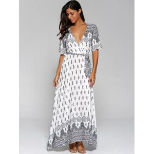 High Slit Pattern Maxi Low Cut Wrap Dress -