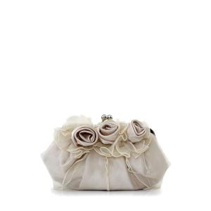 Satin Flowers Lace Evening Clutches - Light Camel - 8