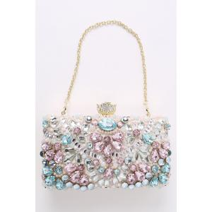 Rhinestone Beading Chains Evening Bag - PINK