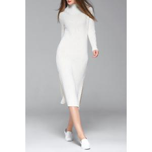 Mock Neck Long Sleeve Sheath Slit Sweater Dress