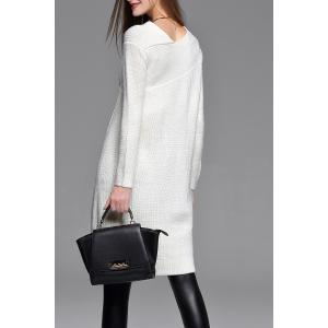 Asymmetric Sweater Dress - WHITE S