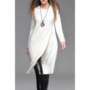 Asymmetric Sweater Dress - White - M