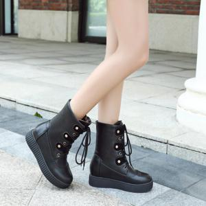 Tie Up Flat Heel PU Leather Short Boots -