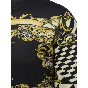 3D Floral and Geometric Print V-Neck Long Sleeve Sweater - COLORMIX 3XL