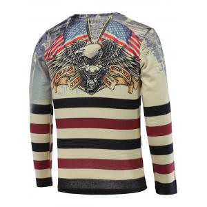 3D Eagle and Stripe Print V-Neck Long Sleeve Sweater - COLORMIX 3XL