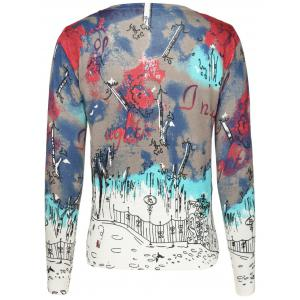V-Neck Girl Print Cardigan -